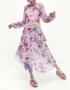 Transparante jurk met print - Jurken| Stradivarius Netherlands