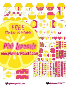 @planner.PICKETT: Pink Lemonade Stand Printable PLanner Stickers for EC , ERIN CONDREN , HP , Happy Planner , Kikki k. , Filofax , 1407 , plumplanner , and limelife planner :)