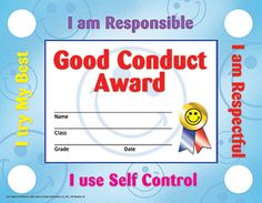 Hayes Good Conduct Stick-to-It Award Certificate, inch x 11 inch, Pack of Multicolor Certificate Of Achievement, Award Certificates, Classroom Incentives, Classroom Management, Free Printable Certificate Templates, Award Names, Effort, Kindergarten Portfolio, Welcome To School