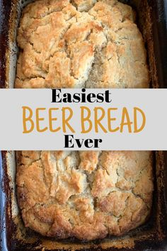 "Easiest Beer Bread Ever - A Princess and Her Pirates - - Beer Bread is a ""staple"" in our fall and winter meal plan. Anytime I make a soup, especially chili, I add a loaf of beer bread to the side. Bread Machine Recipes, Easy Bread Recipes, Cooking Recipes, Easiest Bread Recipe, Gluten Free Beer Bread Recipe, Simple Beer Bread Recipe, Easy Homemade Bread, Beer Cheese Bread Recipe, Homemade Bread Without Yeast"