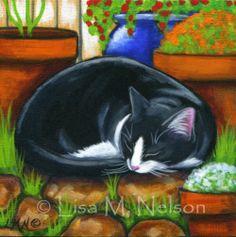 Original Napping Tuxedo Cat in the Garden by BucksCountyDesigns, $35.00