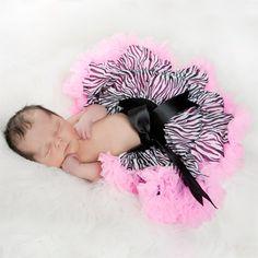 pink leopard print baby shower decorations | Zebra Pink Ruffles Newborn Pettiskirt