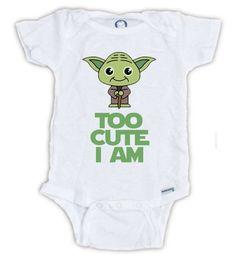 STAR WARS Cute Yoda Baby Onesie Baby Bodysuit Yoda by JujuApparel