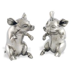 Vagabond House Pewter Happy Pig Salt and Pepper Shaker Set Salt And Pepper Restaurant, Happy Pig, Salt And Pepper Set, Salt Pepper Shakers, Pewter, Lion Sculpture, Cute Animals, Stuffed Peppers, Sterling Silver