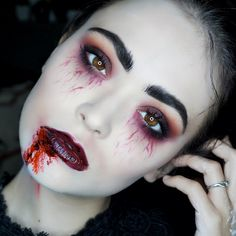 "36 Likes, 6 Comments - Makeup By Claire René (@makeupbyclairerene) on Instagram: ""Day 6: Vampire look #13daysofhalloween ↔️SWIPE ↔️ @makeupforeverofficial @makeupforeverus flash…"""