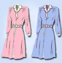 1940s Vintage Mail Order Sewing Pattern 2934 FF WWII Misses Shirtwaist Dress 30B