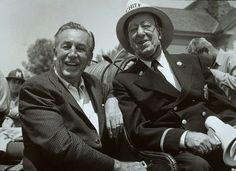 """Ed Wynn photos, including production stills, premiere photos and other event photos, publicity photos, behind-the-scenes, and more. -- Walt Disney and Ed Wynn while filming """"The Absent-Minded Professor."""