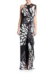 Halston Heritage Shadow-Print Crinkled Chiffon Keyhole Gown