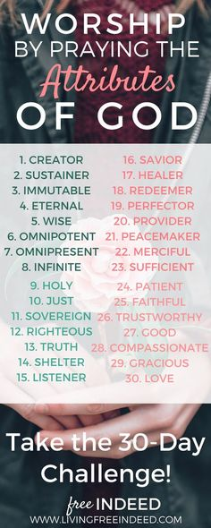 Join the 30 Attributes Prayer Challenge. Worship God in prayer for 30 days, by praising His marvelous character!