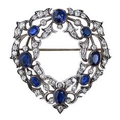 Victorian. Sapphire and Diamond Wreath Brooch, c1890. -- 1stdibs