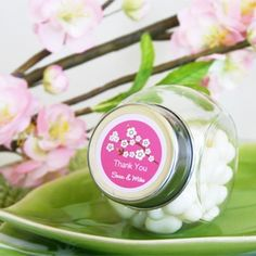 Cherry Blossom Personalized Candy Jars from Wedding Favors Unlimited