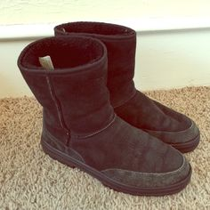 UGG Ultra short women's boots Very good used condition! Shows some creasing from wearing but these are still in good condition. Soles still like new. UGG Shoes Winter & Rain Boots