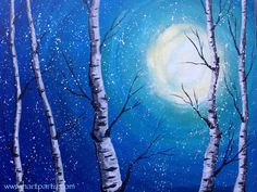 Snow Falling on Birch trees Winter Acrylic Easy painting lesson on Youtube with the Art Sherpa :)