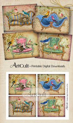 Printable Download ROYAL BIRDS  four Great Greeting Cards Digital Collage Sheet victorian Vintage ephemera Paper downloadable graphics