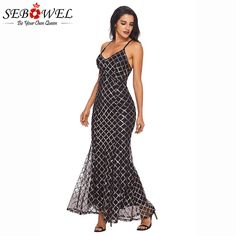 Black Gold Sequins Sexy Spaghetti Strap Maxi Dress for just ₹2230.03.