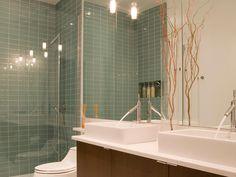 Contemporary   Bathrooms   Marie Burgos : Designer Portfolio : HGTV - Home & Garden Television  Mirror behind sink and toilet makes room feel bigger (counter to ceiling mirror)