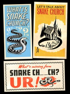 Snake Church religious pamphlets, 1960-1980. Makes me wonder how busy the emergency rooms are on Sundays...