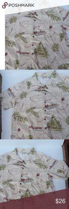 """LL Bean Clam Shack shirt L.L. Bean button front shirt with New England seaside scene print, with canoes, Clam Shack, Steamers, Seal Harbor, Lobster Roll, Nautical Miles. Men's size XXL. Preowned in good condition. Length 31"""". Underarm to underarm 28"""". 60% cotton/40% rayon. Machine wash/tumble dry. L.L. Bean Shirts Casual Button Down Shirts"""