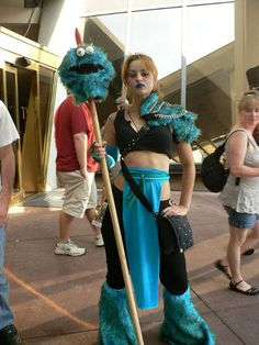 This Cookie Monster Slayer cosplay is amazing! It's one of the most entertainingly creative cosplay costumes I think I've seen.