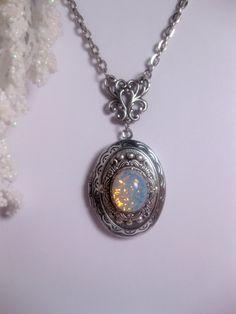 White Sea Opal Necklace - Blue Opal Locket