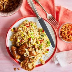 Boodschappen - Pikante rijstsalade met kipsaté Fried Rice, Fries, Sandwiches, Curry, Chinese, Ethnic Recipes, Food, Pineapple, Curries