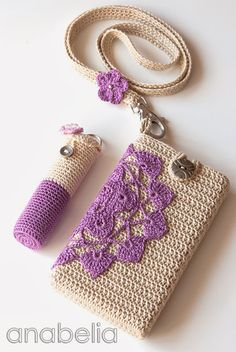 Crochet smartphone and lipstick covers by neckband by Anabelia