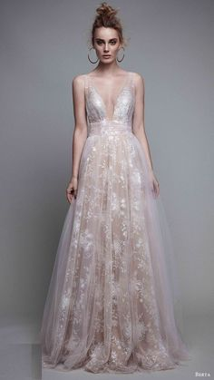 Resultado de imagem para Berta A-Line Blush Evening Gown