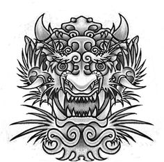 Japanese Dragon Mask | Dragon Japanese tattoo design by Slabzzz