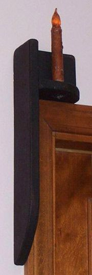 Wooden Over the Door Candle Holder with Candle