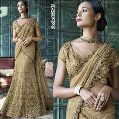 Limited edition!! http://www.indianweddingsaree.com/Product/182548.html  #Golden #Beige #Embroidery #Designer #Occasion #IndianDresses #Partywears #Indian #Women #Bridalwear #Fashion #Fashionista #OnlineShopping #Lehengacholi