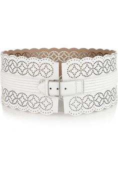alaia perforated leather waist belt
