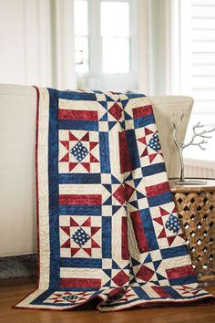 Make and donate, if you wish, a Quilt of Valor. Diane Tomlinson made this one with a star block and easy strip-pieced stripe blocks. Allegiance quilt kit and digital pattern available!