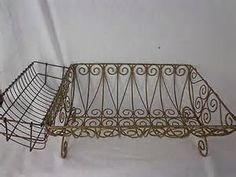 Vintage style Victorian wire dish rack drainer with utensil french ...
