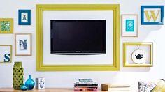 decoração suporte para tv moldura - pra sala de Mamy!