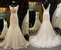 Aliexpress.com : Buy Lace V neck Beaded Mermaid Sleeveless Court Train Wedding Dresses Bridal Gowns L 219 from Reliable dress bridal gown suppliers on BRIDALSKY ZHU's store $149.00