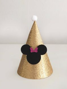 Mini Mouse Birthday Party Hat, Mickey Mouse Birthday Party Hat, First Birthday Mickey Mouse, Glitter Birthday Party Hat, Minnie Mouse by PomJoyFun on Etsy