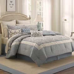 #LauraAshley Whitfield #Comforter Set. Beautiful light #blue tones. #bedding #beddingstyle