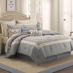 #LauraAshley Whitfield #Comforter Set. Beautiful light #blue tones. #bedding #beddingstyle
