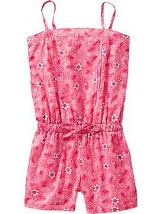Girls' Pink Pleat-Front Romper, how ultra pretty for spring gardening! From Old Navy's Girls' spring collection