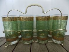 Set Of 8 1950's Drinking Glasses Gold Trim Fifties Green Basket Weave Pattern In Wire Carrier Nice Heavy Glassware Retro Mid Century