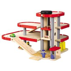 Delight your child with all the things you can do at the Parking Garage with this inspired play set by Plan Toys. Three levels of parking space, plus a helicopt