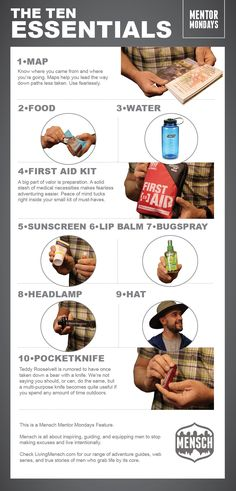 The ten (10) essentials for a day hiking trip.