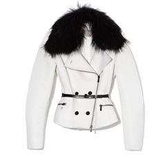 Jason Wu Combo Fur Trim Motorocycle Jacket With Belt ($5,420) ❤ liked on Polyvore featuring outerwear, jackets, jason wu, jacket with belt, pocket jacket, fox jacket and fur jacket
