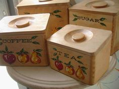 Nesting Wood Kitchen Canister Set Fruit Motif by eclecticamiami, $28.00