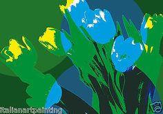 QUADRO-MODERNO-acrilico-su-tela-dipinto-a-mano-opera-originale-tulipani-blu