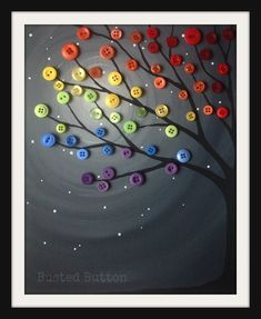 Use tinted background -circles instead of buttons Rainbow Night Button Tree Painting Autism fundraiser auction! New Crafts, Kids Crafts, Diy And Crafts, Arts And Crafts, Autism Crafts, Cool Paper Crafts, Recycled Crafts, Yarn Crafts, Button Art On Canvas