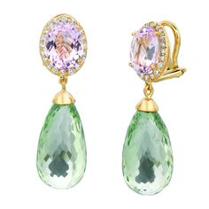 Gemveto kunzite and green amethyst earrings with diamonds