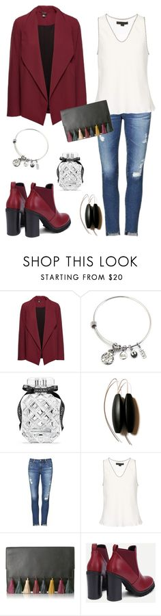 """""""Bordo"""" by oksiniya ❤ liked on Polyvore featuring Victoria's Secret, AG Adriano Goldschmied, Alexander Wang, Rebecca Minkoff, StreetStyle, red, denim and booties"""