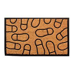 Amber Home Goods Footprint Floormat Size 28 x 16 Entrance Rug, Front Door Entrance, Outdoor Floor Mats, Indoor Outdoor, Rubber Material, Coir, Step Inside, Footprint, Biodegradable Products
