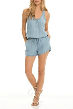 Chambray romper with scoop neckline and partial button down front in super soft, comfy Tencel. Twisted racer back, side pockets and elastic drawstring waist. Tencel is easy to care for and made from wood pulp!   Chambray Denim Romper by Beth Friedman. Clothing - Jumpsuits & Rompers - Rompers Arizona
